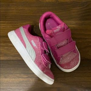 Puma Like New Pink and Silver Glitter Tennis Shoes